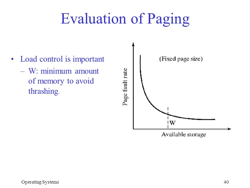 Operating Systems40 Evaluation of Paging Load control is important –W: minimum amount of memory to avoid thrashing.