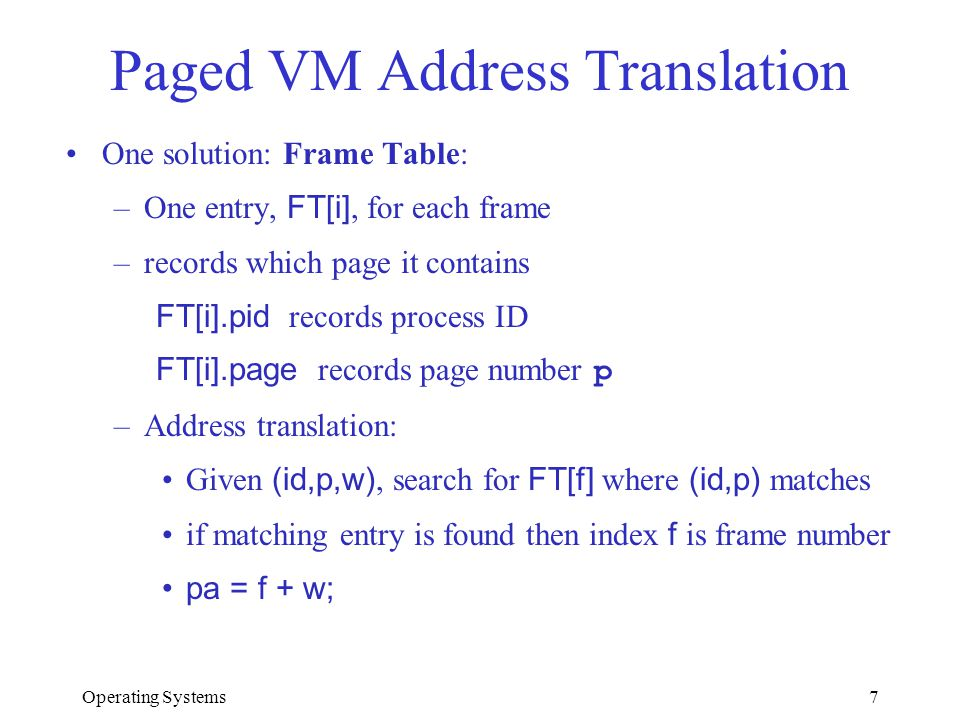 Operating Systems7 Paged VM Address Translation One solution: Frame Table: –One entry, FT[i], for each frame –records which page it contains FT[i].pid
