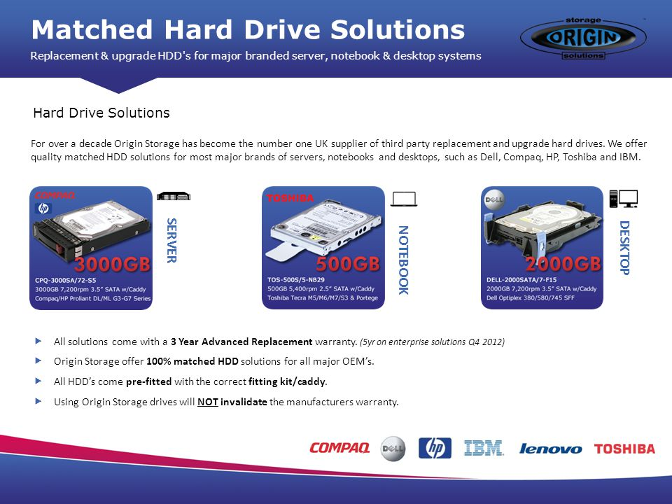 Matched Hard Drive Solutions Replacement & upgrade HDD s for major branded server, notebook & desktop systems Hard Drive Solutions For over a decade Origin Storage has become the number one UK supplier of third party replacement and upgrade hard drives.