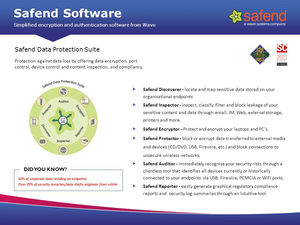 Safend Discoverer - locate and map sensitive data stored on your organisational endpoints Safend Inspector - inspect, classify, filter and block leakage of your sensitive content and data through  , IM, Web, external storage, printers and more.