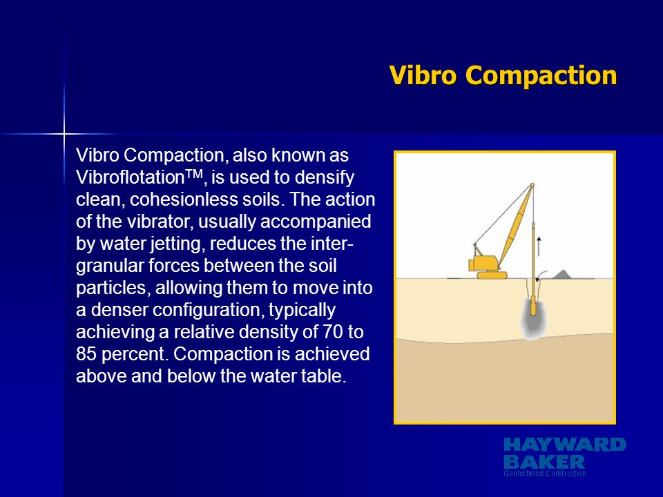 Vibro Compaction Vibro Compaction, also known as Vibroflotation TM, is used to densify clean, cohesionless soils. The action of the vibrator, usually