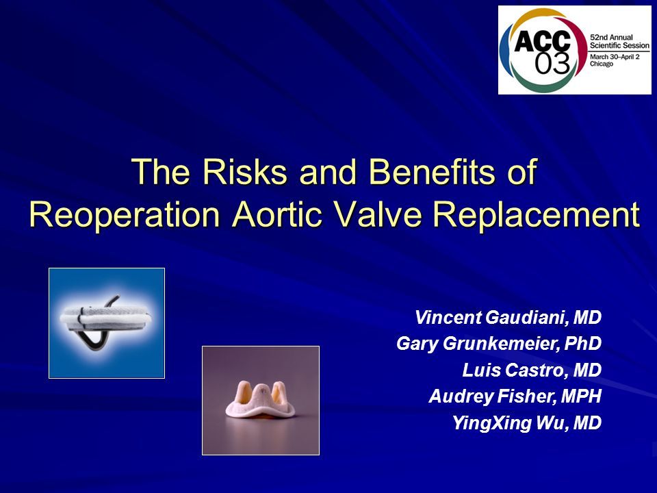 The Risks and Benefits of Reoperation Aortic Valve Replacement Vincent Gaudiani, MD Gary Grunkemeier, PhD Luis Castro, MD Audrey Fisher, MPH YingXing