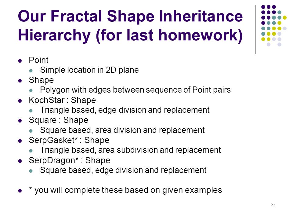 22 Our Fractal Shape Inheritance Hierarchy (for last homework) Point Simple location in 2D plane Shape Polygon with edges between sequence of Point pairs KochStar : Shape Triangle based, edge division and replacement Square : Shape Square based, area division and replacement SerpGasket* : Shape Triangle based, area subdivision and replacement SerpDragon* : Shape Square based, edge division and replacement * you will complete these based on given examples