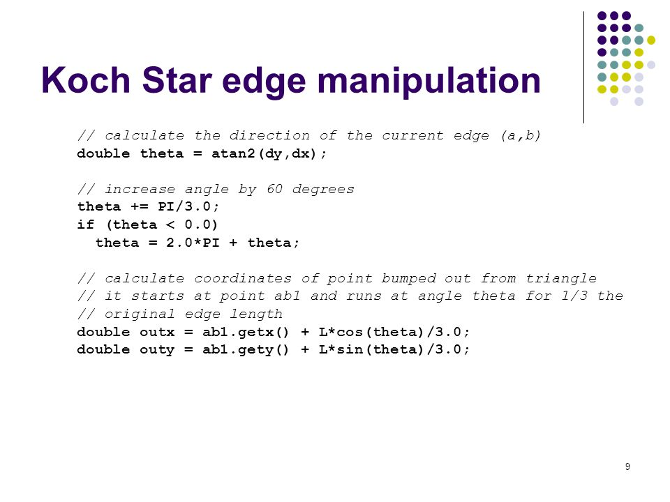 9 Koch Star edge manipulation // calculate the direction of the current edge (a,b) double theta = atan2(dy,dx); // increase angle by 60 degrees theta += PI/3.0; if (theta < 0.0) theta = 2.0*PI + theta; // calculate coordinates of point bumped out from triangle // it starts at point ab1 and runs at angle theta for 1/3 the // original edge length double outx = ab1.getx() + L*cos(theta)/3.0; double outy = ab1.gety() + L*sin(theta)/3.0;