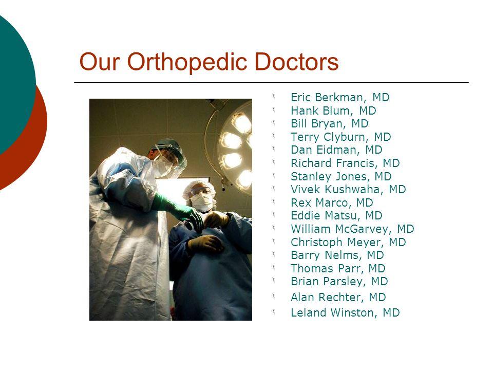 Our Orthopedic Doctors Eric Berkman, MD Hank Blum, MD Bill Bryan, MD Terry Clyburn, MD Dan Eidman, MD Richard Francis, MD Stanley Jones, MD Vivek Kush
