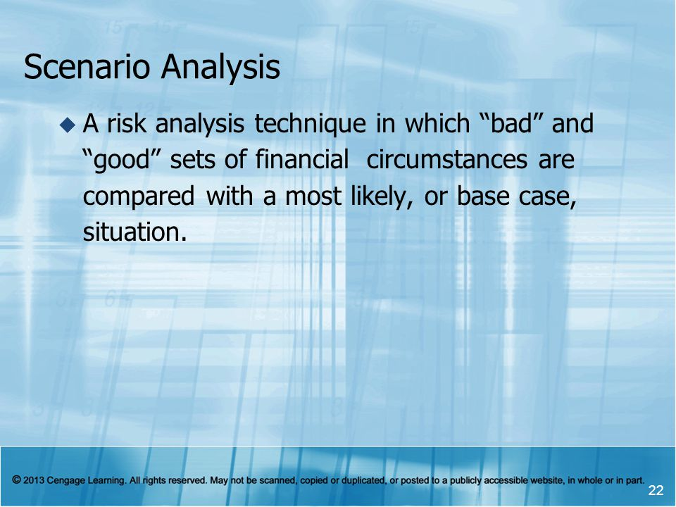 Scenario Analysis A risk analysis technique in which bad and good sets of financial circumstances are compared with a most likely, or base case, situa