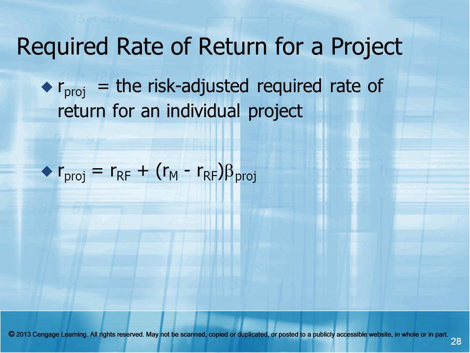 Required Rate of Return for a Project r proj = the risk-adjusted required rate of return for an individual project r proj = r RF + (r M - r RF ) proj 28