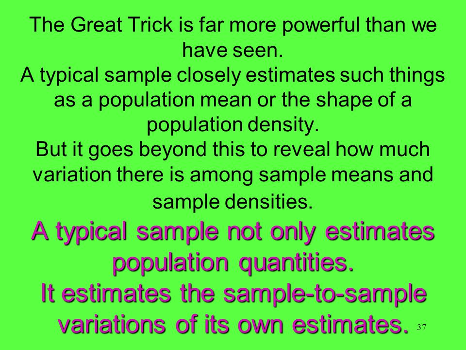 37 A typical sample not only estimates population quantities.