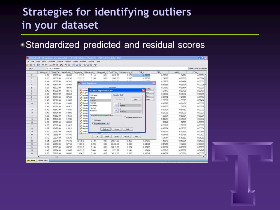 Strategies for identifying outliers in your dataset Standardized predicted and residual scores