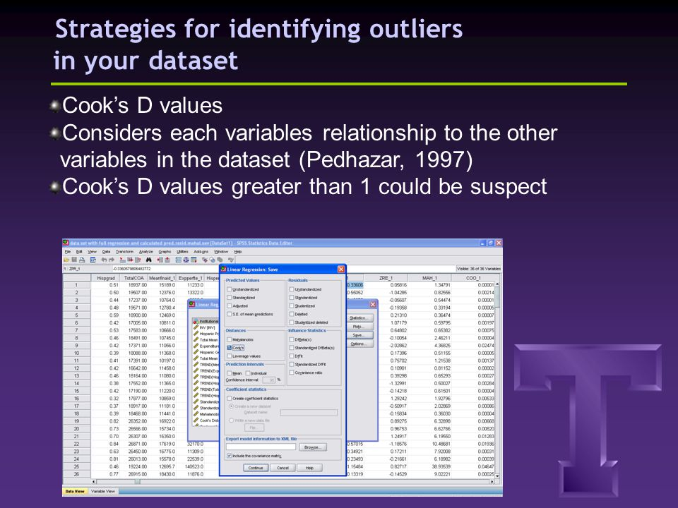 Strategies for identifying outliers in your dataset Cooks D values Considers each variables relationship to the other variables in the dataset (Pedhaz