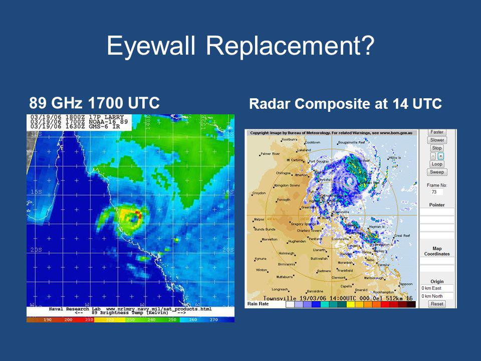 Eyewall Replacement 89 GHz 1700 UTC Radar Composite at 14 UTC