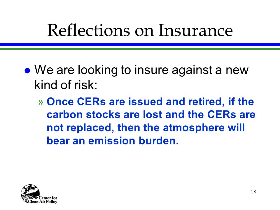 13 Reflections on Insurance l We are looking to insure against a new kind of risk: »Once CERs are issued and retired, if the carbon stocks are lost and the CERs are not replaced, then the atmosphere will bear an emission burden.