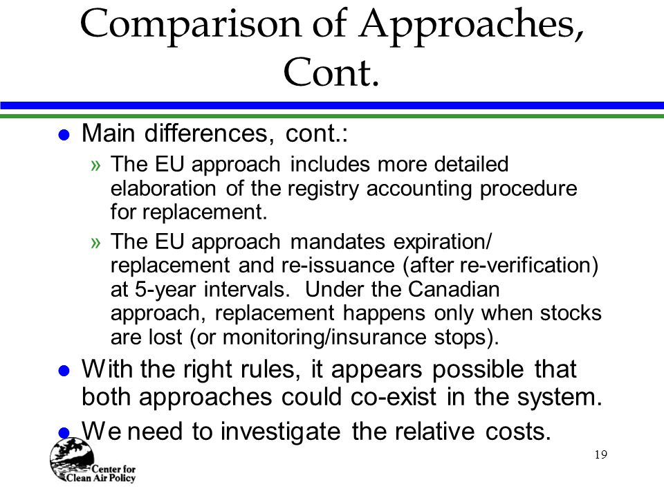 19 Comparison of Approaches, Cont.