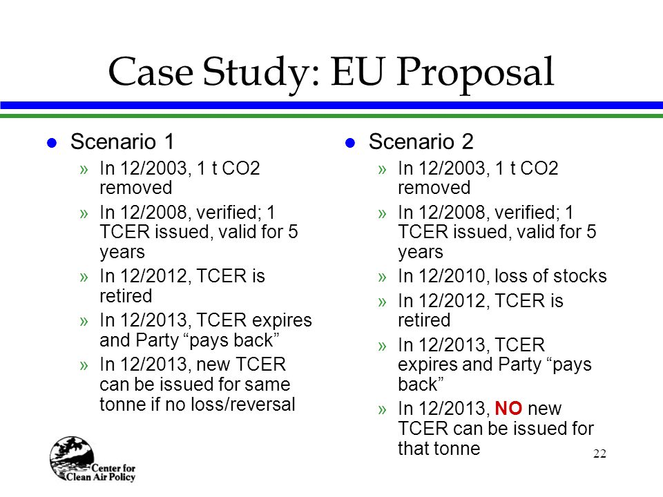 22 Case Study: EU Proposal l Scenario 1 »In 12/2003, 1 t CO2 removed »In 12/2008, verified; 1 TCER issued, valid for 5 years »In 12/2012, TCER is retired »In 12/2013, TCER expires and Party pays back »In 12/2013, new TCER can be issued for same tonne if no loss/reversal l Scenario 2 »In 12/2003, 1 t CO2 removed »In 12/2008, verified; 1 TCER issued, valid for 5 years »In 12/2010, loss of stocks »In 12/2012, TCER is retired »In 12/2013, TCER expires and Party pays back »In 12/2013, NO new TCER can be issued for that tonne