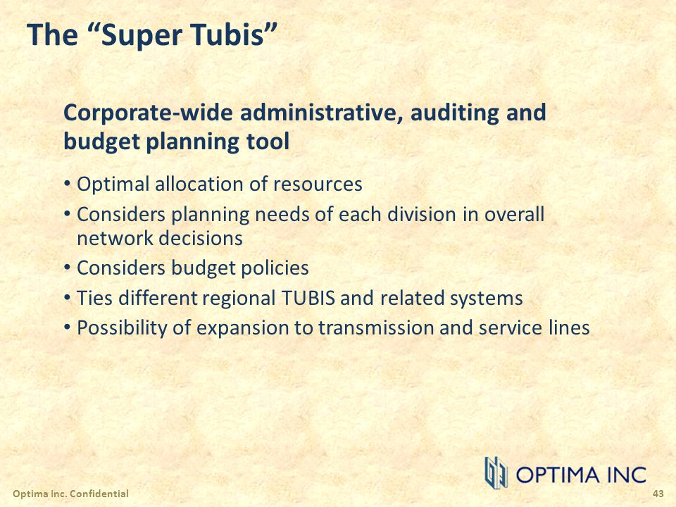The Super Tubis Corporate-wide administrative, auditing and budget planning tool Optimal allocation of resources Considers planning needs of each divi