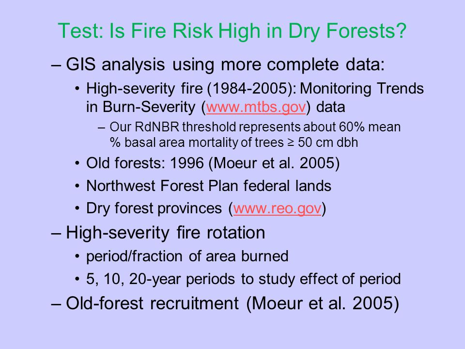 Test: Is Fire Risk High in Dry Forests.