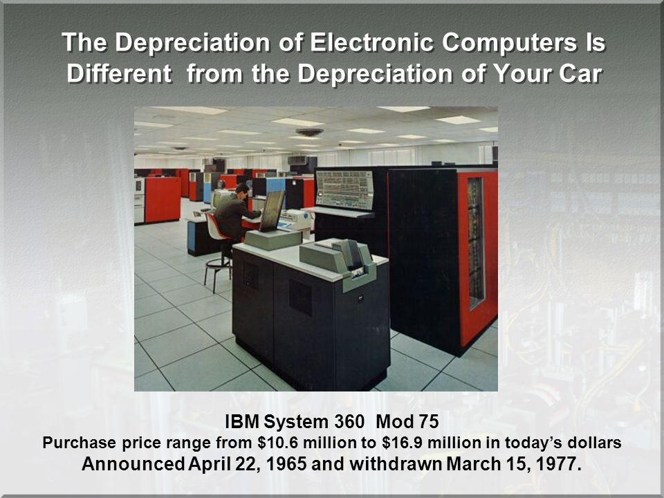 IBM System 360 Mod 75 Purchase price range from $10.6 million to $16.9 million in todays dollars Announced April 22, 1965 and withdrawn March 15, 1977.