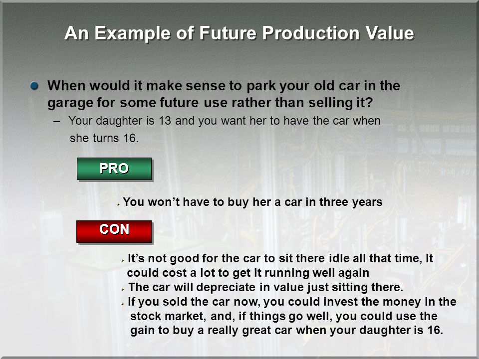 An Example of Future Production Value When would it make sense to park your old car in the garage for some future use rather than selling it? –Your da