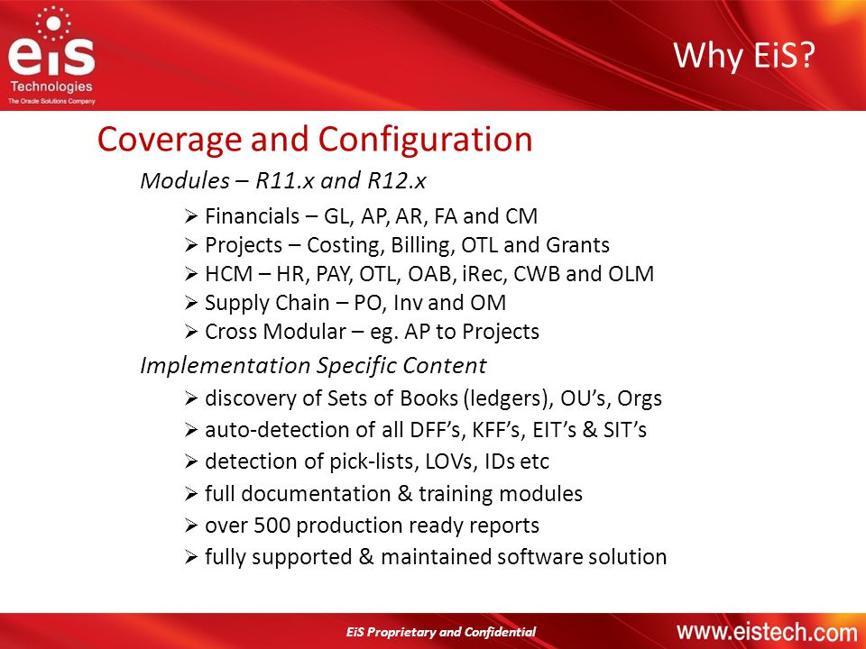 EiS Proprietary and Confidential Coverage and Configuration M odules – R11.x and R12.x Financials – GL, AP, AR, FA and CM Projects – Costing, Billing,