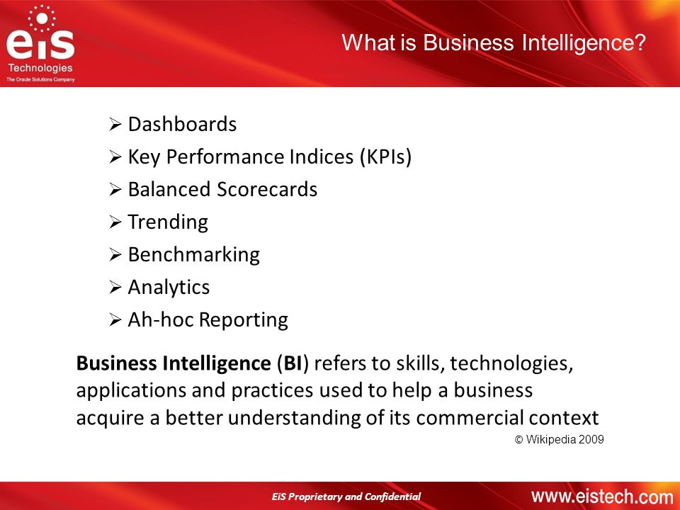 EiS Proprietary and Confidential Dashboards Key Performance Indices (KPIs) Balanced Scorecards Trending Benchmarking Analytics Ah-hoc Reporting What i