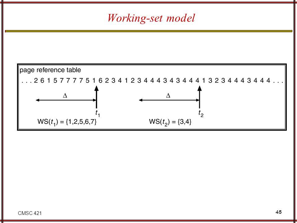 CMSC 421 45 Working-set model