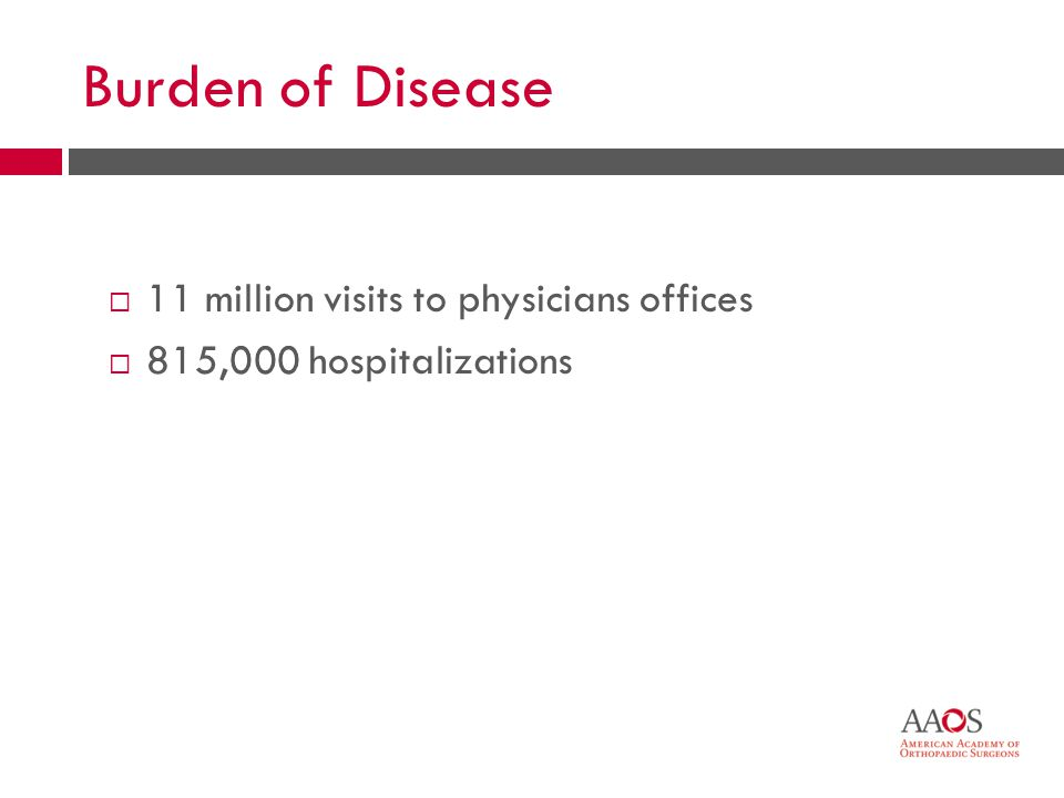 15 Burden of Disease 11 million visits to physicians offices 815,000 hospitalizations