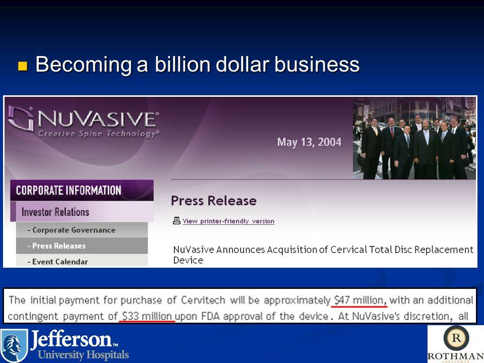 Becoming a billion dollar business Becoming a billion dollar business