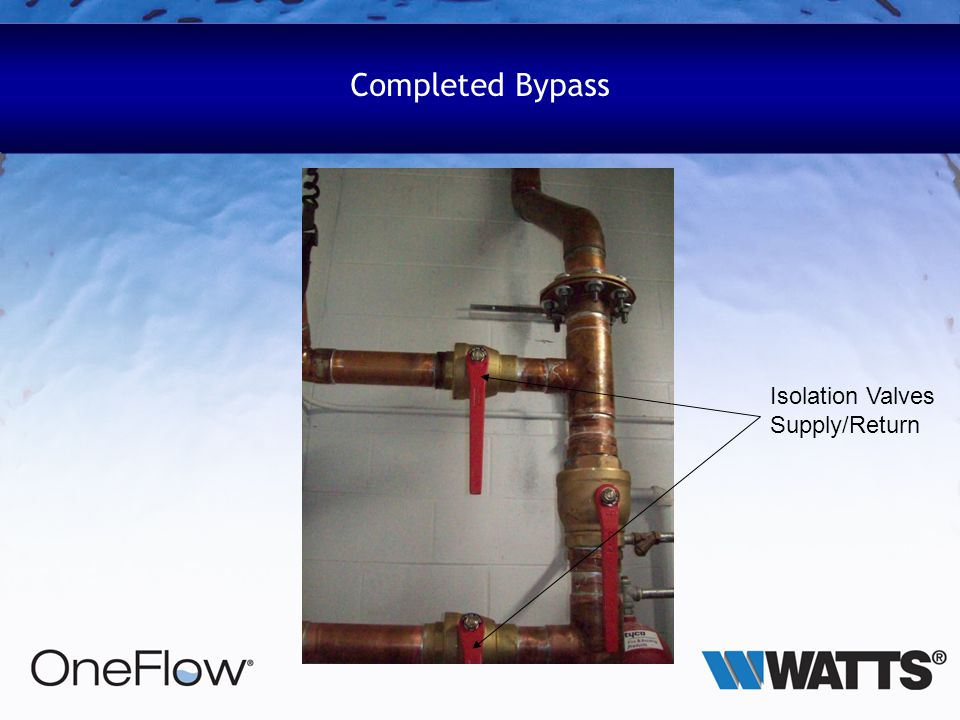 Completed Bypass Isolation Valves Supply/Return