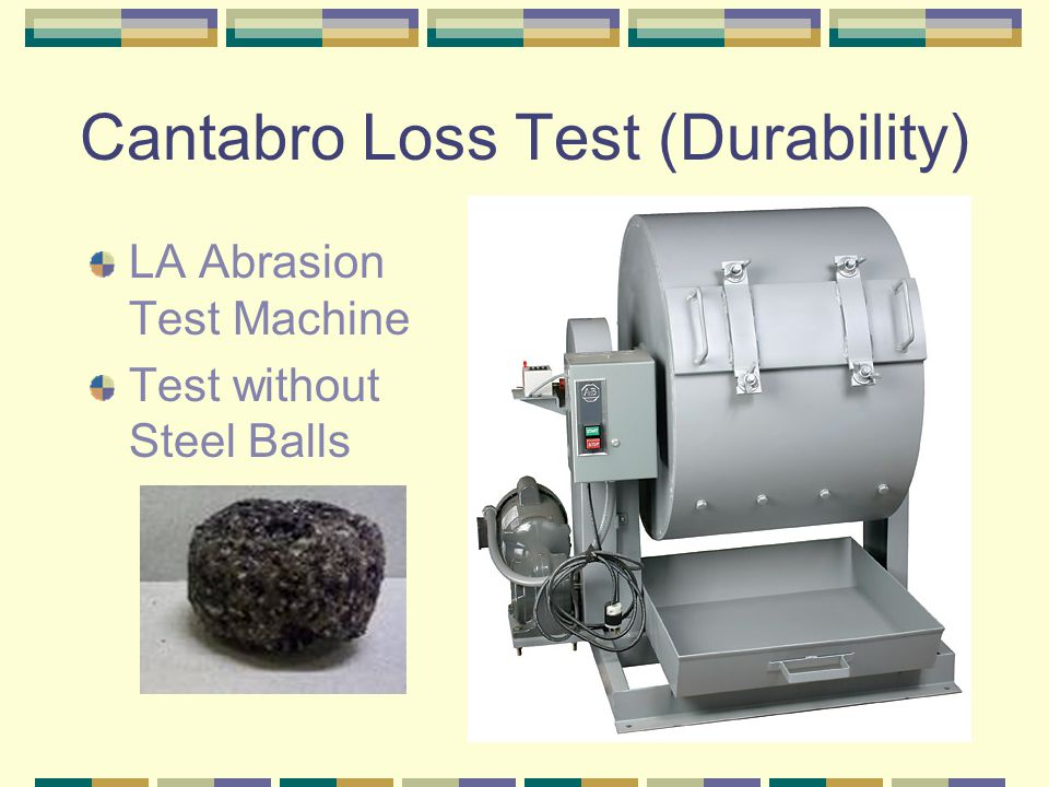 Cantabro Loss Test (Durability) LA Abrasion Test Machine Test without Steel Balls