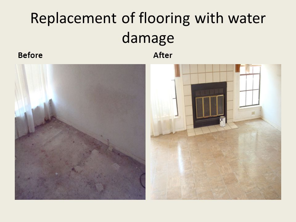 Replacement of flooring with water damage BeforeAfter