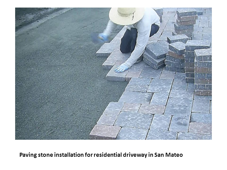 Paving stone installation for residential driveway in San Mateo
