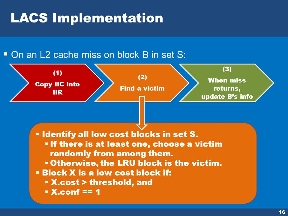 LACS Implementation 16 On an L2 cache miss on block B in set S: (1) Copy IIC into IIR (2) Find a victim (3) When miss returns, update Bs info Identify all low cost blocks in set S.