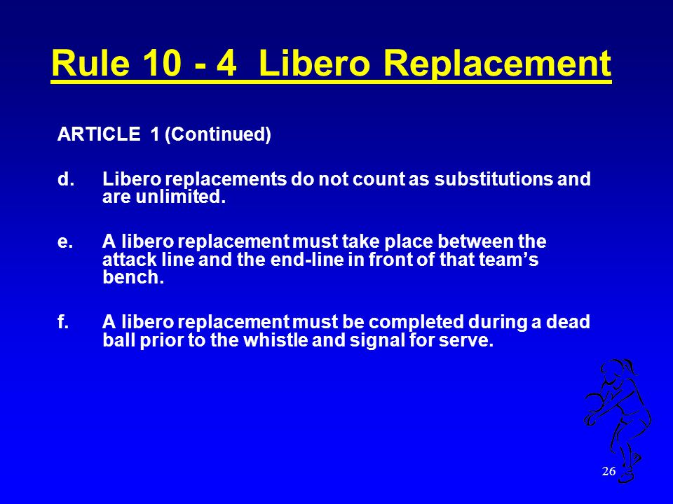 25 Rule 10 - 4 Libero Replacement ARTICLE 1 a. The libero designated on the lineup for that game is allowed to replace any player in a back-row positi