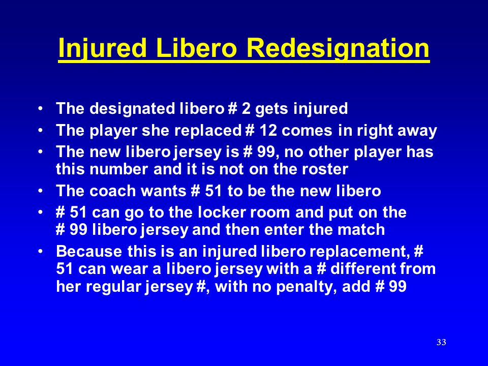 32 1.Redesignation does not need to occur immediately after the injury and replacement, but may occur at the discretion of the coach(es). 2.Any substi