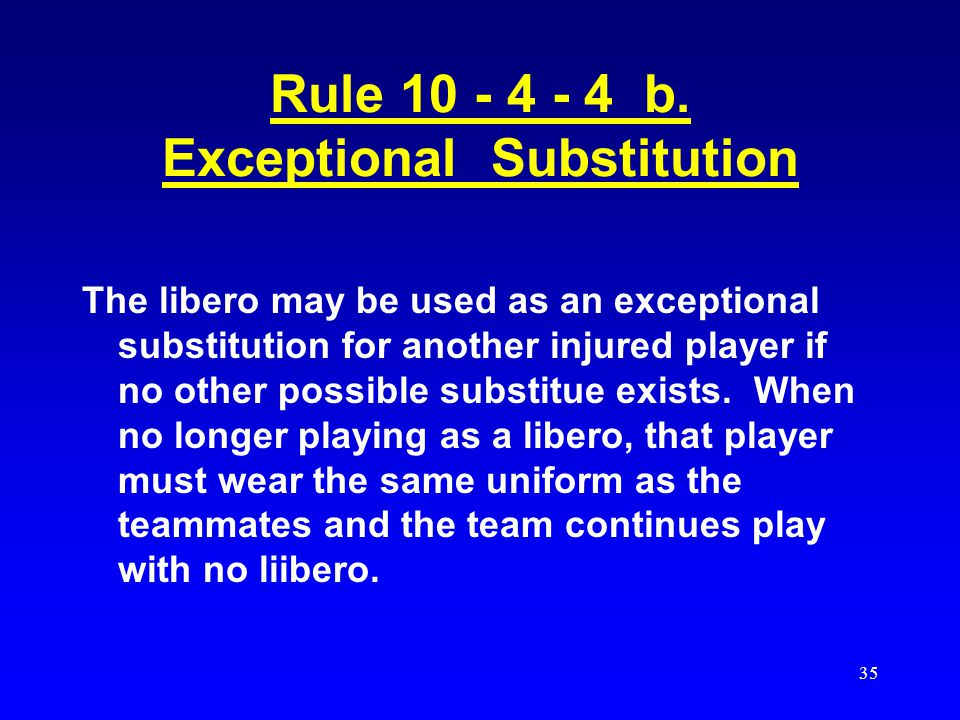 34 Injured Libero Clarifications If a team has only 1 libero jersey, it IS NOT legal for different players to use that same jersey with the same numbe