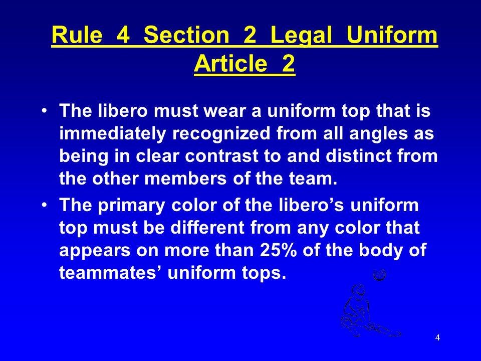 3 The Libero - Pronounced: lee-bear-o (correct) Li-bear-o (also correct) - From the Italian word for free - 2007 rule change, the libero can serve in