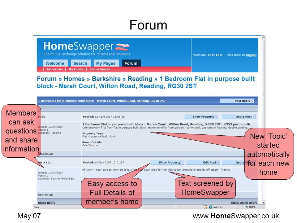 www.HomeSwapper.co.ukMay07 Forum New Topic started automatically for each new home Members can ask questions and share information Easy access to Full