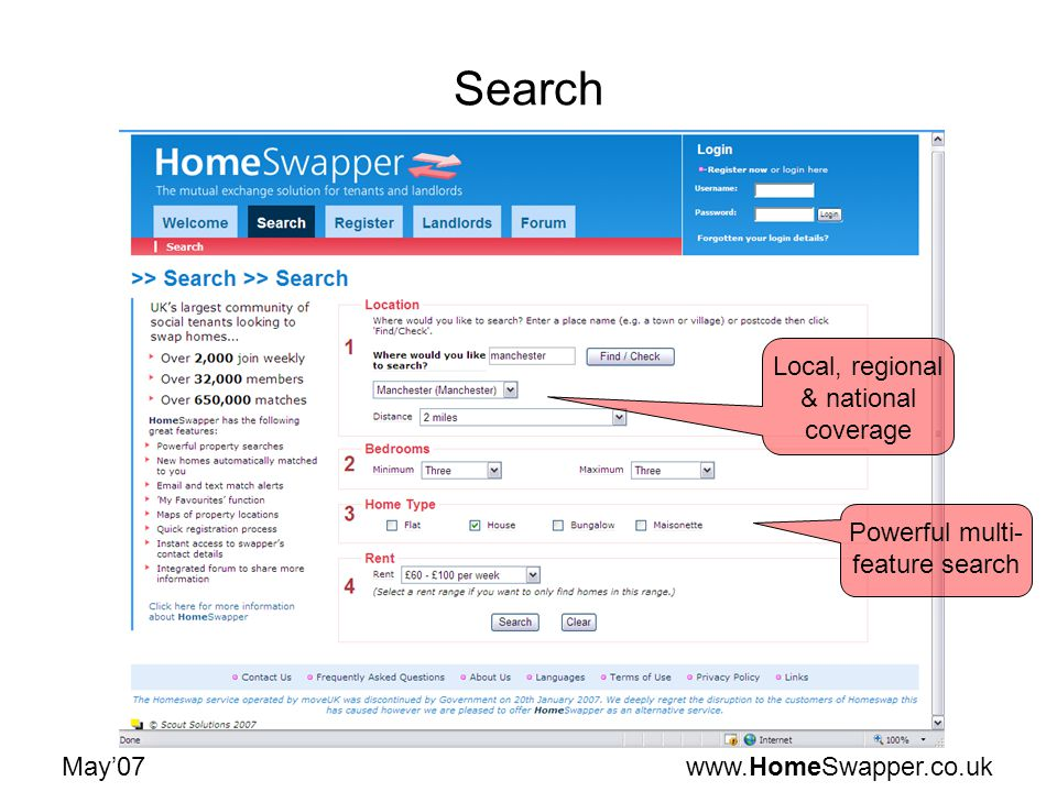 www.HomeSwapper.co.ukMay07 Search Local, regional & national coverage Powerful multi- feature search
