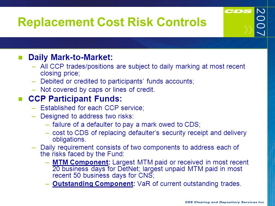 Replacement Cost Risk Controls Value at Risk (VaR) in CNS: –99% confidence level with holding periods from 2 to 10 days; –Holding periods determined by liquidity and concentration risks; –Parametric VaR; –Allows for diversification effects across portfolio of positions where sufficient price history exists.