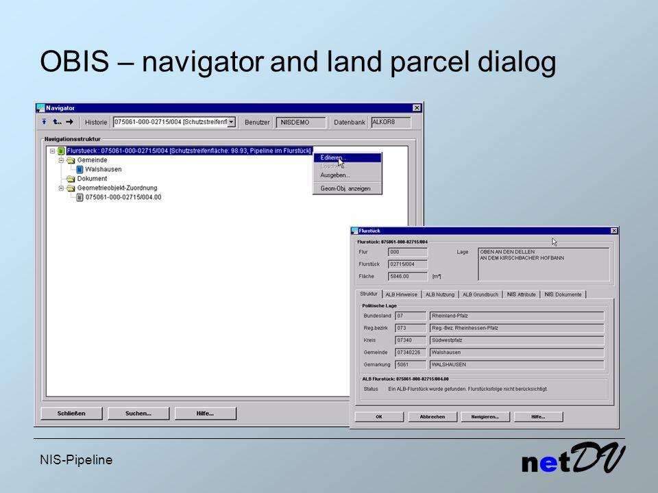 NIS-Pipeline OBIS – navigator and land parcel dialog
