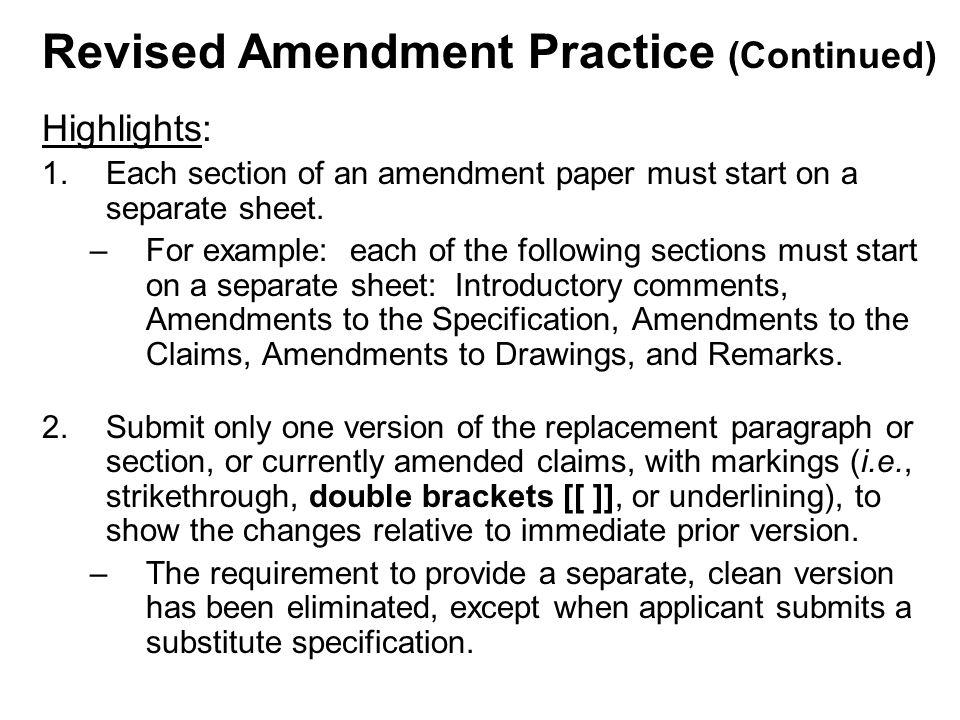 Highlights: 1.Each section of an amendment paper must start on a separate sheet.