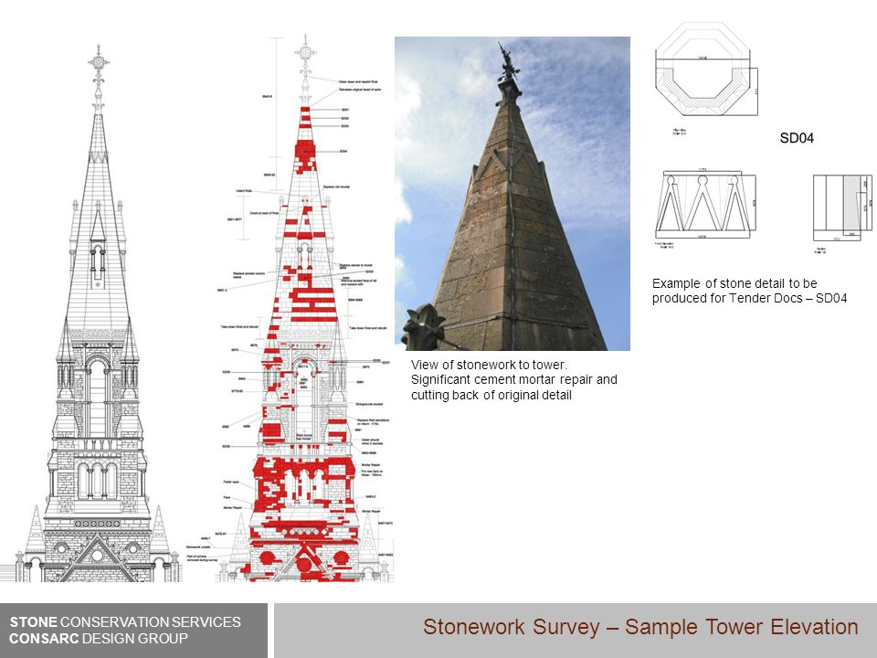 Example of stone detail to be produced for Tender Docs – SD04 View of stonework to tower.