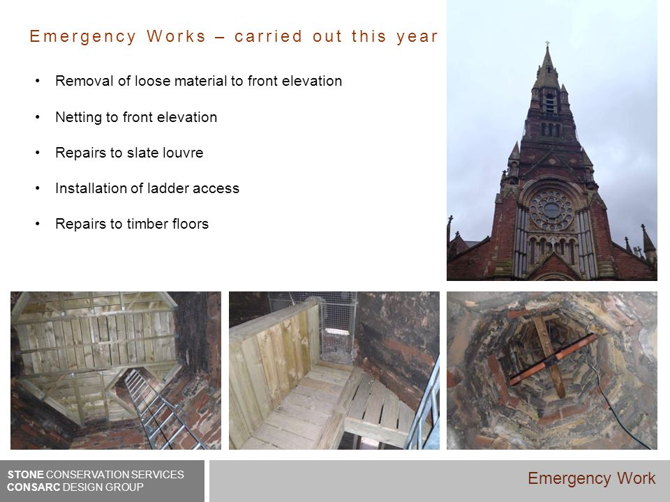Emergency Works – carried out this year Removal of loose material to front elevation Netting to front elevation Repairs to slate louvre Installation o
