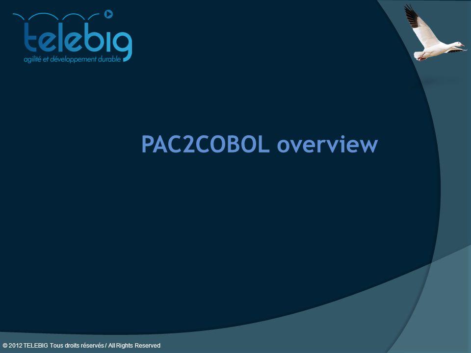 © 2012 TELEBIG Tous droits réservés / All Rights Reserved. PAC2COBOL overview
