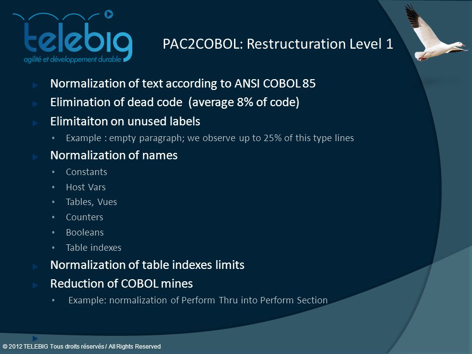 © 2012 TELEBIG Tous droits réservés / All Rights Reserved. PAC2COBOL: Restructuration Level 1 Normalization of text according to ANSI COBOL 85 Elimina