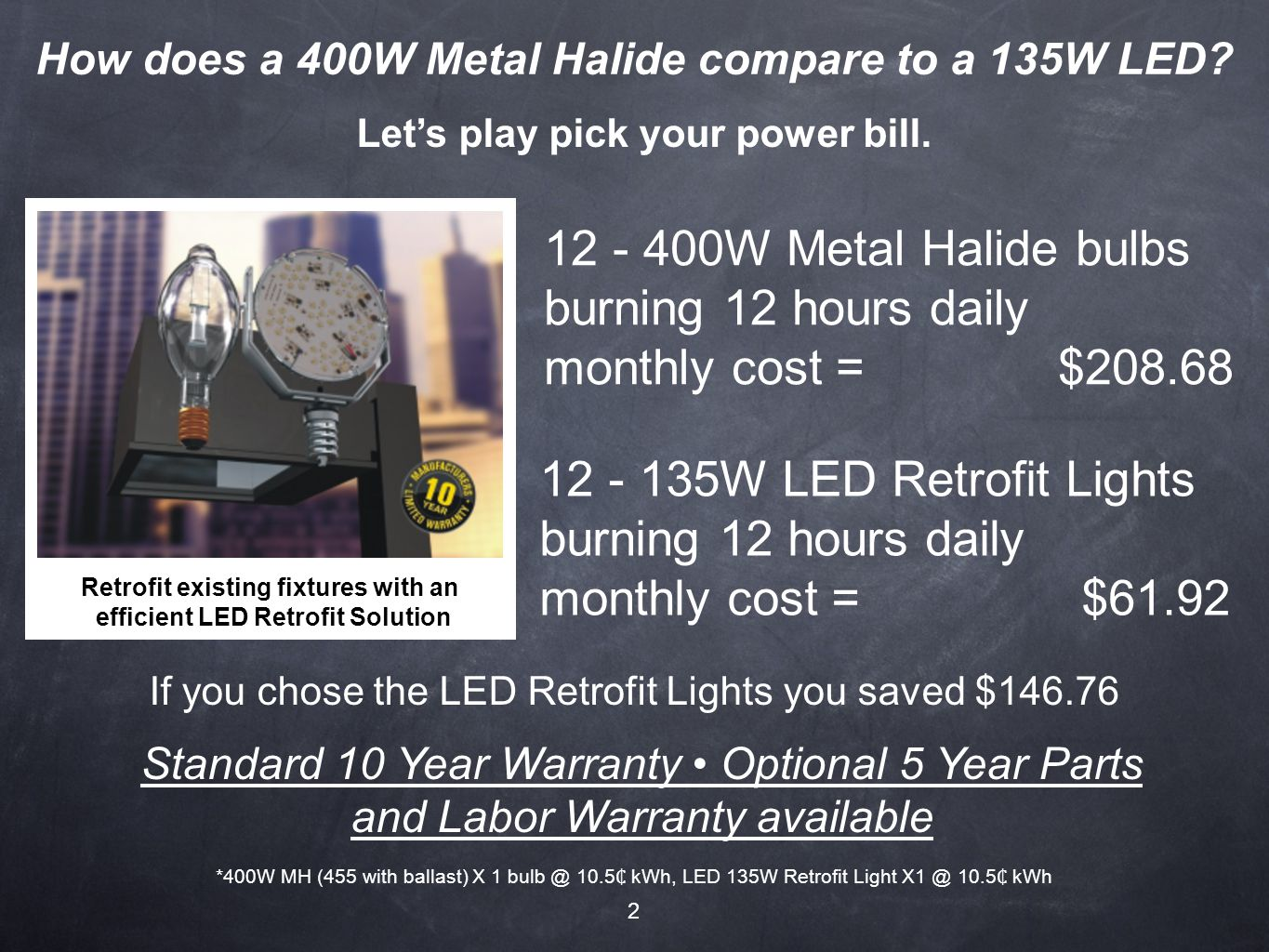 2 How does a 400W Metal Halide compare to a 135W LED.