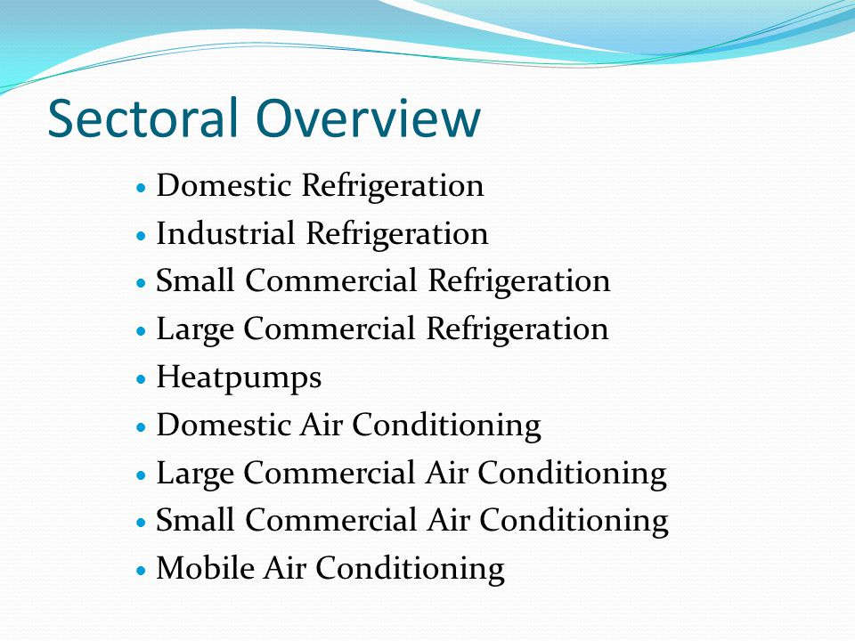 Sectoral Overview Domestic Refrigeration Industrial Refrigeration Small Commercial Refrigeration Large Commercial Refrigeration Heatpumps Domestic Air Conditioning Large Commercial Air Conditioning Small Commercial Air Conditioning Mobile Air Conditioning