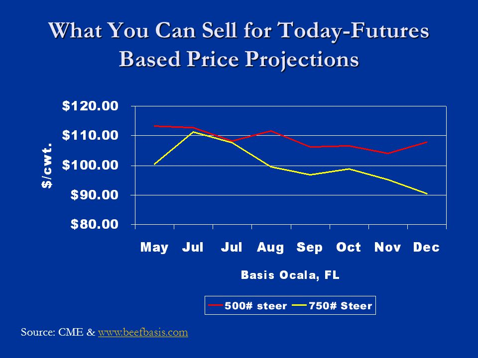 What You Can Sell for Today-Futures Based Price Projections Source: CME & www.beefbasis.comwww.beefbasis.com
