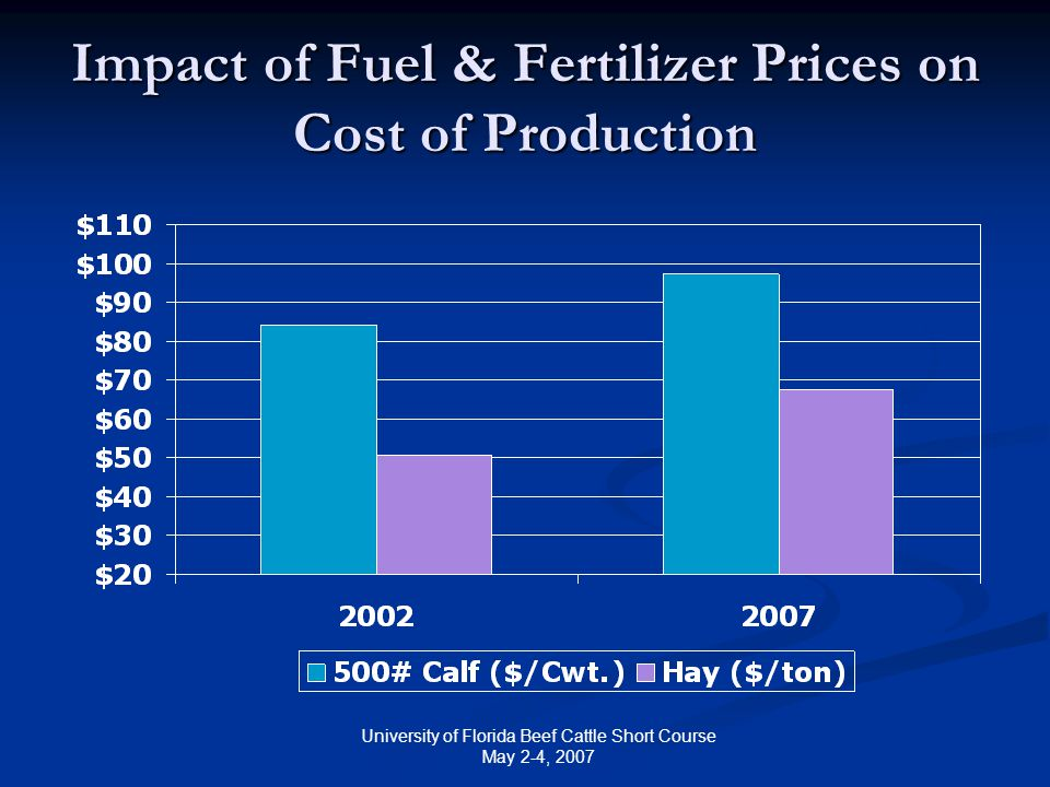 University of Florida Beef Cattle Short Course May 2-4, 2007 Impact of Fuel & Fertilizer Prices on Cost of Production