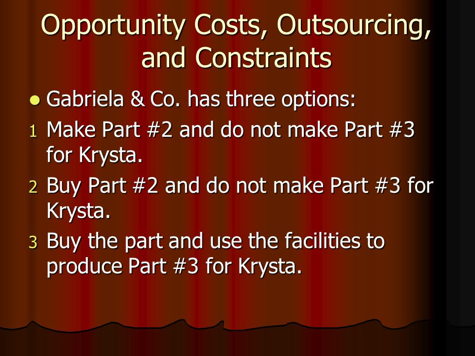 Opportunity Costs, Outsourcing, and Constraints Gabriela & Co.